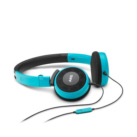 Y 30 - Teal - Stylish, uncomplicated, foldable headphones with 1 button universal remote/mic - Hero
